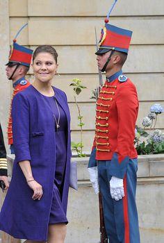 In this handout picture released by Presidencia de la Republica de Colombia Crown Princess Victoria of Sweden leaves the Presidential Palace Casa de...