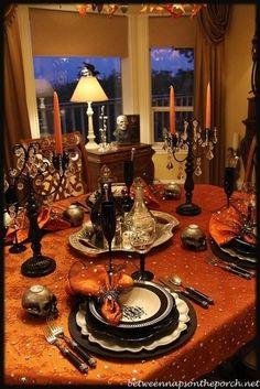 Orange and black Halloween dinner party