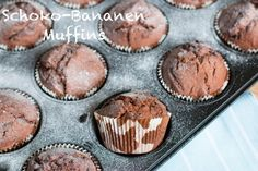 Schoko-Bananen-Muffins, Schoko-Bananen-Cupcakes, Bananenmuffins, Schokolade, Schoko, Bananen, Bananenmuffins, Rezept