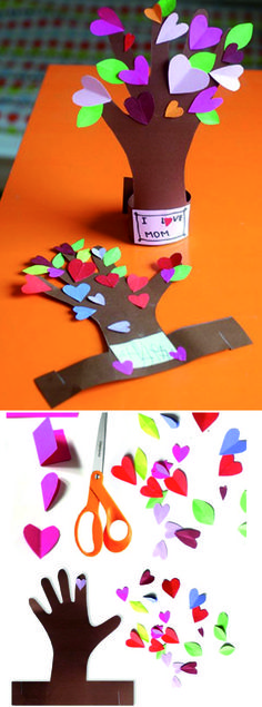 Για τη γιορτή της μητέρας. Valentine Crafts, Easter Crafts, Christmas Crafts, Tree Crafts, Diy And Crafts, Arts And Crafts, Diy For Kids, Crafts For Kids, Teacher Cards