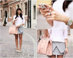 Origami : gray skirt, white blouse, and pink purse Origami Skirt, Grey Purses, Gray Skirt, Hermes Kelly, Winter Outfits, Fall Winter, Stylish, My Style, Womens Fashion
