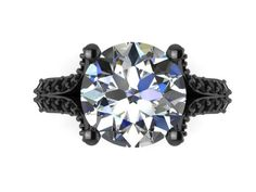 14K Black Gold Engagement Ring Split Shank Natural Black Diamond Classic Engagement Ring With 8mm Moissanite Center Celebrity - V1117 by JewelryArtworkByVick on Etsy