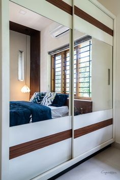 Modern abode with traditional embellishment | Cognition Design Studio - The Architects Diary Wardrobe Door Designs, Wardrobe Doors, Exterior Design, Interior And Exterior, Staircase Landing, Large Windows, Minimal Design, All Modern, Wardrobes