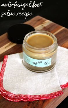 Natural Antifungal Foot Salve Recipe. A natural holistic home remedy for athlete's foot, toenail fungus and candida with key ingredients like an antifungal essential oil, neem oil and coconut oil. This natural antifungal foot salve recipe is a great way to naturally promote skin health. Used daily it can help to treat fungal foot infections as well as prevent their reoccurrence. #antifungal  via @soapdeligirl