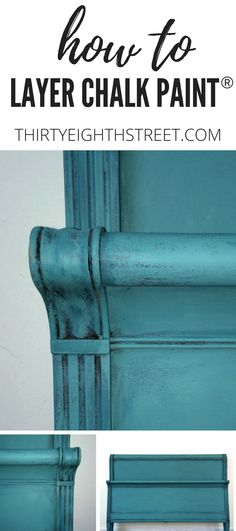 Furniture Painting Technique for furniture. Layering Chalk Paint Techniques To Create The Perfect Turquoise Patina. How to Layer Chalk Paint. Turquoise Furniture, Blue Painted Furniture, Painted Beds, Chalk Paint Furniture, Distressed Furniture, Shabby Chic Furniture, Cool Furniture, Turquoise Bed, Furniture Ideas