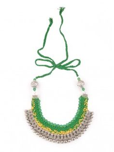 Emerald Green Silver Braided Choker