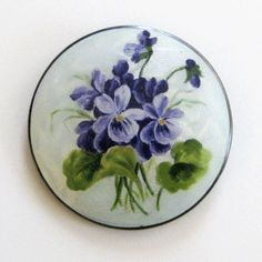 Early Vintage Aksel Holmsen Norway Sterling Enamel Guilloche Brooch Violets