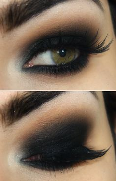 Smokey eye look is good to represent the coal in this district. I could also add little flames at the end of the eyelid. Bat Makeup, Kohl Makeup, Smudged Makeup, Smokey Eye Makeup Look, Black Smokey Eye, Smokey Eyeshadow, Skin Makeup, Eyeliner, Dramatic Eyeshadow