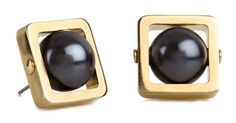 The Caged Stone Stud Earring from Lele Sedoughi is a modern take on the statement earring. A gold-plated frame surrounds a hematite cabochon stone. Wear this earring with work, weekend, or date night SQUARE</li><li>Steel Post</li></ul> Statement Earrings, Pearl Earrings, My Shopping List, Ear Piercings, Earring Set, Studs, Personal Style, Fashion Accessories, Jewelry Making