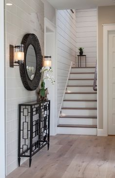 Foyer-Ideas-Foyer-with-a-combination-of-shiplap-and-tile-accent-wall-and-white-oak-hardwood-flooring-foyer All sources on Home Bunch blog
