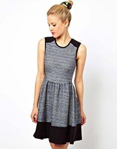 Image 1 ofASOS Sleeveless Skater Dress In Colourblock