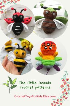 Set of 4 crochet patterns - amigurumi bee, spider, bug and ladybug You can buy and download files separately in my store