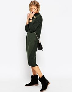 ASOS – Mittellanges Pulloverkleid mit Rollkragen