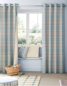 Blue Linen Look Check Eyelet Curtains from Next