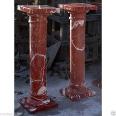 Red Marble Pedestal Pair w/ White Veining Hand Cut New Free shipping