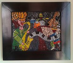 SOLD - Jazz (20x25cm) by commission. Glass tiles on wood. #mosaic #WallArt #jazz