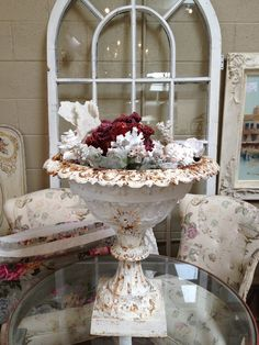 ANTIQUE GARDEN PLANTER/URN FILLED WITH SEA SHELLS