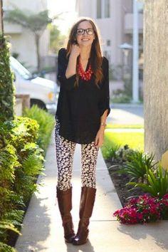 Cómo combinar leggins estampados: Fotos de los modelos - Leggins con blusa