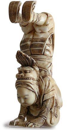 Antique Japanese Ivory Netsuke, Circa: early 1900's Shishimai Acrobat Greeting Audience ~ Unsigned.