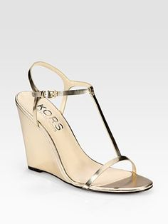Kors Michael Kors Ruby Metallic Leather T-Strap Wedge Sandals