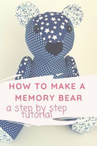 How to make a memory bear. Photo tutorial and link to pattern Teddy Bear Patterns Free, Teddy Bear Sewing Pattern, Pdf Sewing Patterns, Plush Pattern, Sewing Toys, Baby Sewing, Memory Pillows, Memory Quilts, Memory Crafts