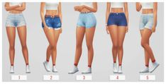 "passion4pixels: "" CURRENT CC FAVES: DENIM SHORTS "" 1. high-waisted shorts by @lyriumsims [x] 2. twerk shorts by @mummasim [x] 3. bound shorts by @ridgeport [x] 4. christy shorts by @twikkii [x] 5. denim shorts by @simsontherope [x] ♡ poses by..."