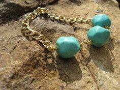 Turquoise and gold chain bracelet by fleurdesignz on Etsy, $18.00