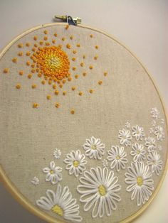 Embroidery Hoop Art Field of Daisies Wall Art. $25.00, via Etsy.