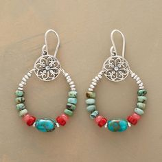 FINE FRETWORK EARRINGS�--�Cherry jade and coral beads pop brightly against shades of turquoise and finely crafted sterling silver fretwork. Handmade in USA. 1-3/4L.