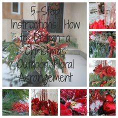 Christmas Outdoor Floral Arrangment Tutorial from Time with Thea (Organized Living Essentials) Christmas Planters, Christmas Arrangements, Outdoor Christmas, Christmas Projects, Floral Arrangements, Christmas Ideas, All Things Christmas, Christmas Holidays, Merry Christmas