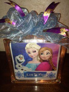 Let it Go Frozen lighted glass block. $25