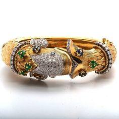 Antique 7.00ct Diamond Emerald Sapphire Gold Fish Bangle Bracelet Dover Jewelry. $15599.00