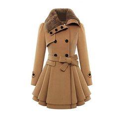 Fanala Women Long Sleeve Faux Fur Lapel Double-Breasted Thick Wool Coat(Camel
