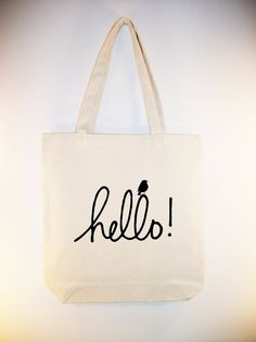 "Adorable ""Hello"" with Bird15x15 Canvas Tote image in ANY COLOR by Whimsybags, $12.00"