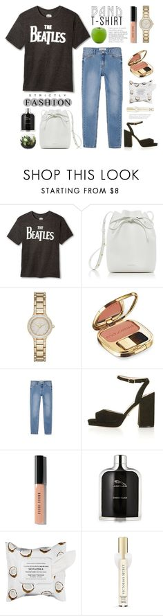 """""""I Am With The Band"""" by rever-de-paris ❤ liked on Polyvore featuring Target, Mansur Gavriel, Dolce&Gabbana, Topshop, Bobbi Brown Cosmetics, Sephora Collection, Victoria's Secret and Dot & Bo"""