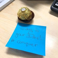 Special spoil from a colleague. Not sure which is sweeter my fav Ferro Roche chocolate or the inspiring note. Note, Sweet, Inspiration, Biblical Inspiration, Inhalation, Motivation