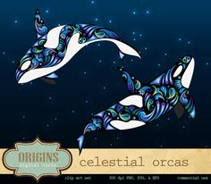 Celestial Orcas Whale PNG and Vector by OriginsDigitalCurio