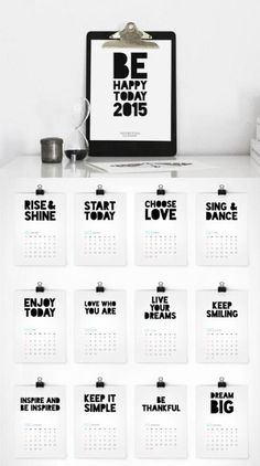 2015 printable calendar from Colour Moon. Love the inspiration on each page!