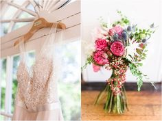 BHLDN Persiphone Gown | Colorful Bouquet by Elegance & Simplicity | Photo by Amber Kay Photography | Colorful Historic Mansion Wedding on heartlovealways.com