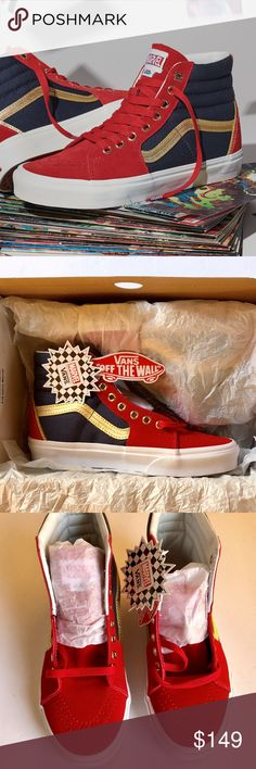 fe26da1f37 SALE Vans Captain Marvel Limited Edition Sk8 Hi 100% AUTHENTIC - NEW - WITH