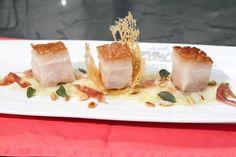 Rezept: 48 Stunden Sous-Vide gegarter Schweinebauch  auf Kohlrabi Carpaccio