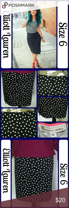 """Sz 6 Elliott Lauren Pencil Skirt B&W Polka Dot Excellent Condition, Never worn... No wear, No stains, No tears, Flat waistband with concealed zipper in the back, and 2 small slits in the back. It has some stretch..Fabric content: 96% Cotton and .4% Lycra. Measurements: Waist 32"""", Length 20"""" From a smoke-free Home (J10) Elliott Lauren Skirts Midi"""