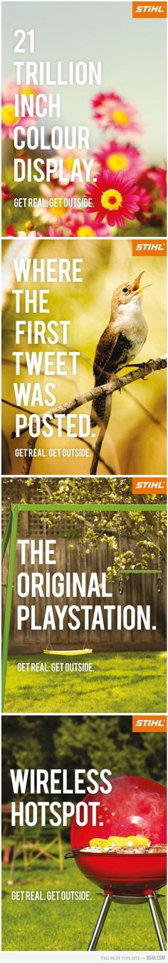 Funny pictures about Get outside campaign. Oh, and cool pics about Get outside campaign. Also, Get outside campaign photos. Get Outdoors, The Great Outdoors, Campaign Posters, Advertising Campaign, Clever Advertising, Funny Commercials, Funny Ads, Hilarious, Commercial Ads