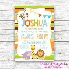 Safari Birthday Party Invitation Monkey Jungle by CasaConfetti