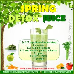 Spring recipe ❥➥❥ Doesn't this #Spring Detox Juice with #carrots #apples #peppers sound delicious ... and look beautiful?❣?  Please SHARE ♥ PLEASE ♡ Like♥SHARE✔Comment✔Tag✔Repost  #Love / #Gratitude / Visit ❥ Step In2 My Green World ~ http://www.stepintomygreenworld.com/healthyliving/spring-detox-juice/  ♥ #recipes + #inspiration + more = http://godsgardenofeden.wix.com/holistichealthwellnessbeauty ♥  #GodsGardenOfEden #holistic #health #wellness #foods #nutrition #prevention #empowerment…