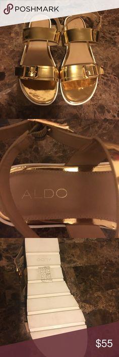 Aldo platform gold sandals with buckle Only worn once! Also gold platform sandals with buckle. Size 7.5. Aldo Shoes Sandals