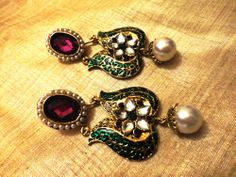 Majestic green and  purple stone Gold Tone ethnic earrings