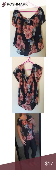 Floral Print Off-the-Shoulder Top Flowy off-the-shoulder top from Charlotte Russe. Plus size 2X. I'm usually a 1X at CR, but it still fits me well! Cute navy with floral pattern. Could be worn either way, as actual sleeves or off-the-shoulder, so I modeled both ways! NWOT! It's so cute paired with jeans or dressed up with a skirt. 🌸 Charlotte Russe Tops Blouses