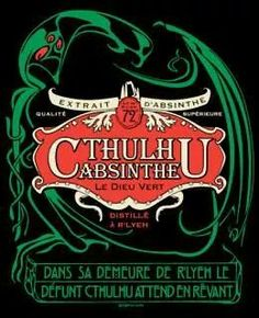 Cthulhu Absinthe art nouveau unisex t-shirt sizes Lovecraft Cthulhu, Hp Lovecraft, Vintage Ads, Vintage Posters, Green Fairy, Dragon Print, Call Of Cthulhu, Illustrations, Art Nouveau