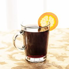 Hot Mulled Wine. Low sugar and nicely spiced.